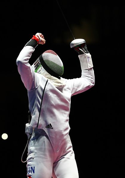 #RIO2016 Best of Day 1 - Emese Szasz of Hungary celebrates after defeating Lauren Rembi of France in the Women's Individual Epee semifinal on Day 1 of the Rio 2016 Olympic...