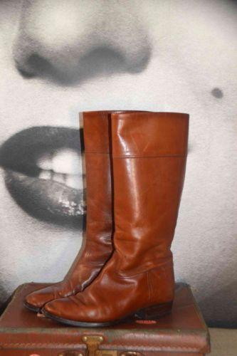 Vintage-en-cuir-equitation-genou-bottes-equitation-marron