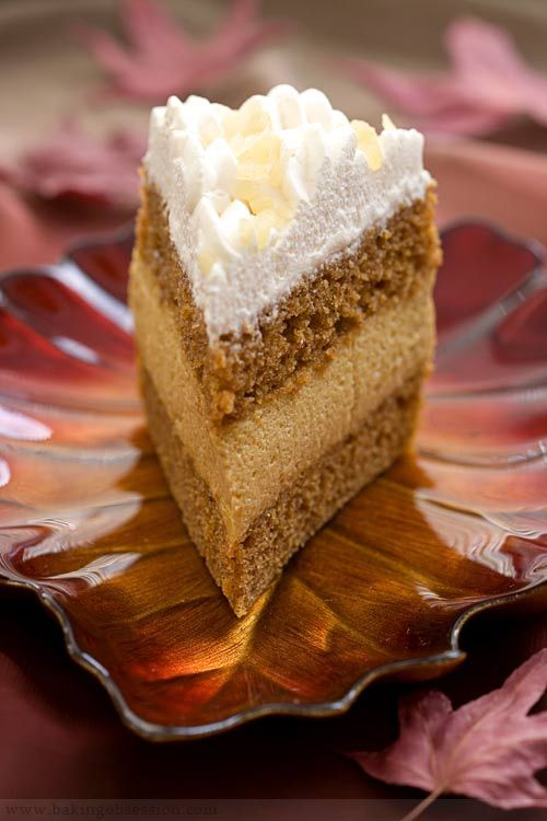 Pumpkin Brandy Mousse Cake with Maple Whipped Cream Topping