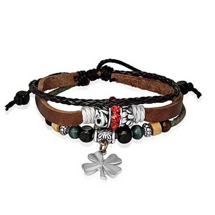 Bling Jewelry Braided Leather Zen Bracelet Shamrock Flower Silver Plated