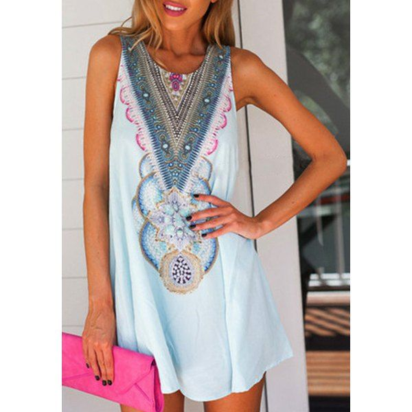 Ethnic Style Scoop Neck Colorful Printed Dress