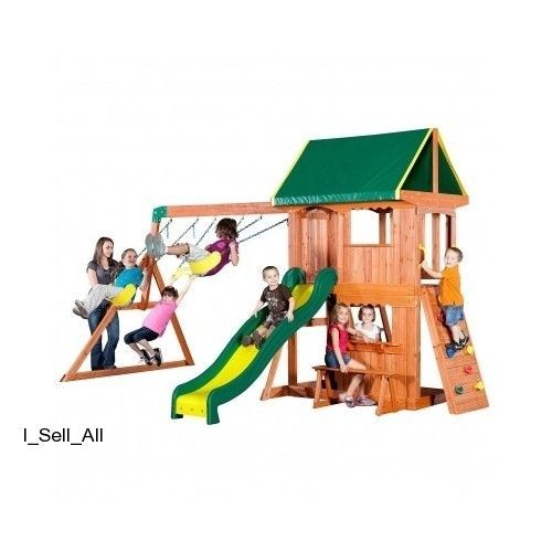 Kids Cedar Swing Set Playset Slide Clubhouse Balcony Wooden Playground Equipment #Somerset
