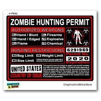 united states us zombie hunting license permit red biohazard response team window bumper locker
