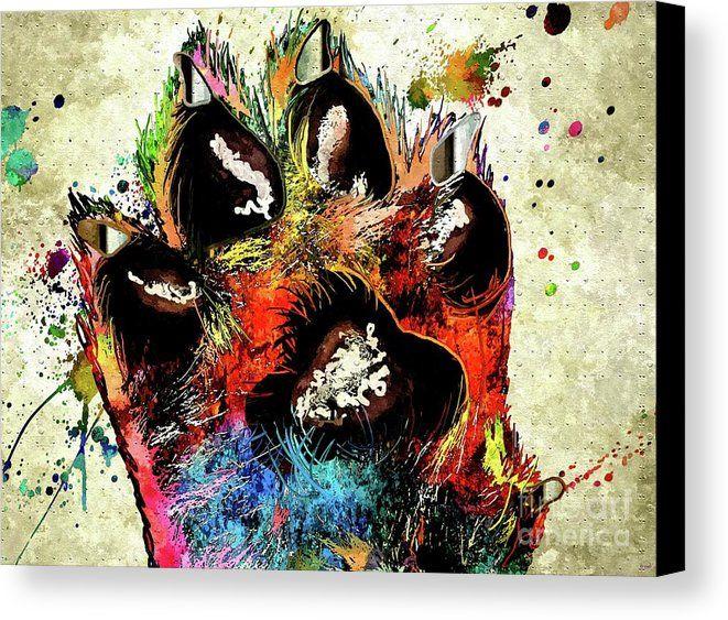 Dog Paw Grunge Canvas Print featuring the mixed media Dog Paw Grunge by Daniel Janda