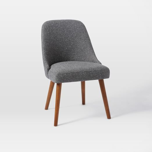 Mid-Century Upholstered Dining Chair, Salt + Pepper, Tweed