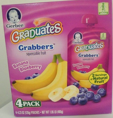 Gerber Graduates Grabbers Banana Blueberry 4-4.23 Oz Pouches (Pack of 2) Gerber Graduates Grabbers Banana Blueberry. Squeezable Fruit. 4-4.23 Oz Pouches. Pack of 2 (Total 8-4.23 Oz Pouches).