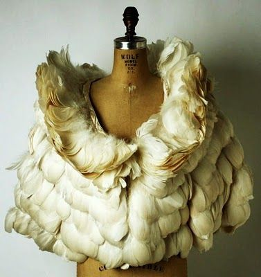 vintage feather cape. gorgeous. I would love a knock off of this, doesn't have to be real feathers.