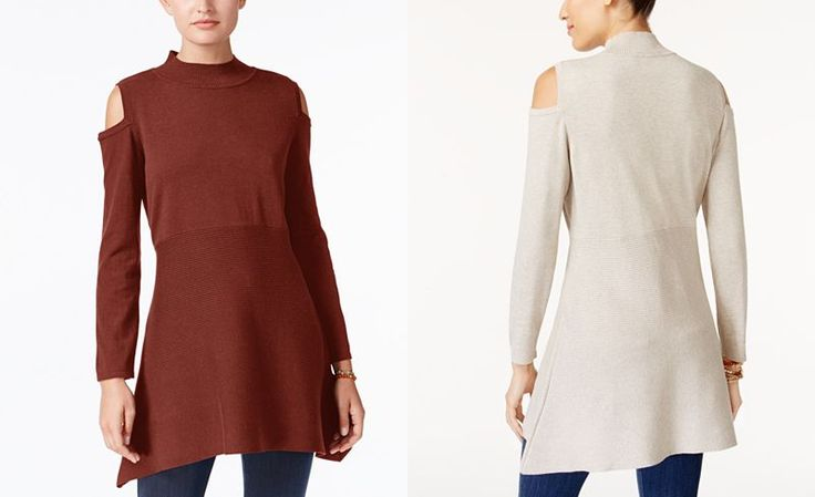 Style & Co Cold-Shoulder Mock-Neck Tunic, Created for Macy's - Sale & Clearance - Women - Macy's