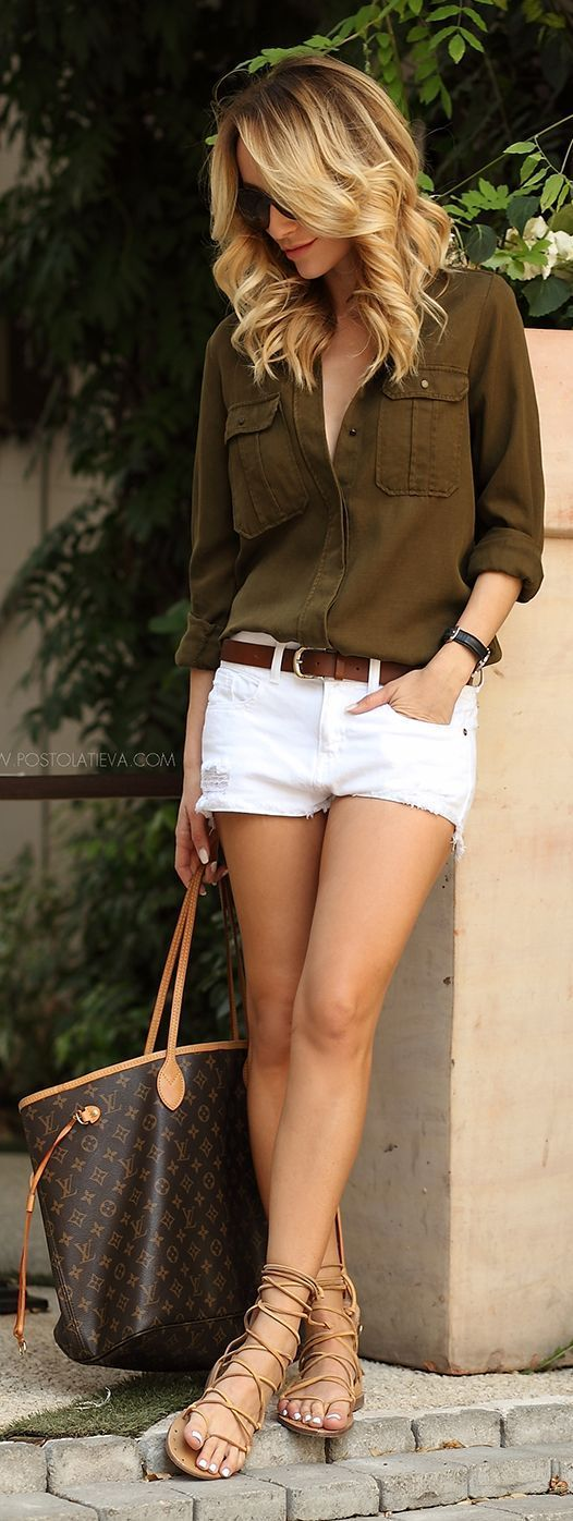 Throw on your gladiator sandals with a cozy button down shirt and denim cutoff shorts!