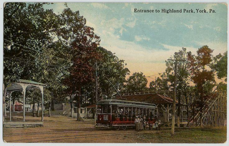York Pa Entrance To Highland Park Trolley Street Car Old
