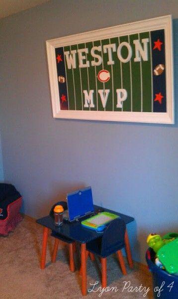 DIY football themed bedroom wall decor.... Cody's birthday gift but browns hmmm