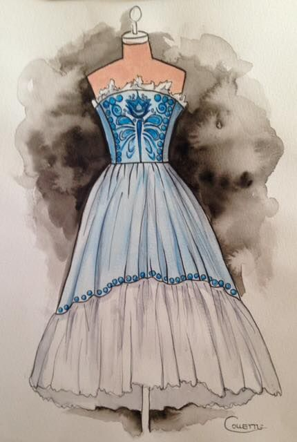Baby blue strapless ball gown with a flounce skirt. This pretty dress has embroidered detailing on the bodice and skirt and a softly gathered frill across the top. Watercolour by Collette Fergus.