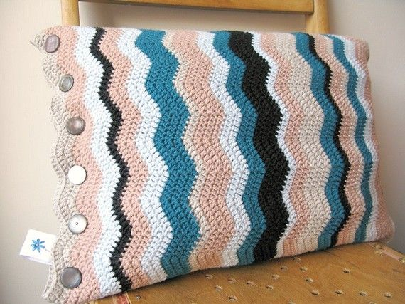 Inspiration: Crocheted pillow case in gorgeous colors...love it.