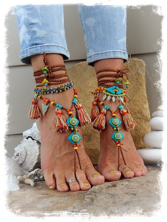 Pocahontas BAREFOOT Sandals Tribal Tassel Fringe sandal ...