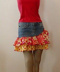 Handmade Denim and Cotton Print Skirt CUTE!