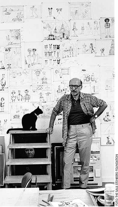 "Saul Steinberg - Saul Steinberg (June 15, 1914 – May 12, 1999) was a Jewish Romanian-born American cartoonist and illustrator, best known for his work for The New Yorker, most notably View of the World from 9th Avenue. He described himself as ""a writer who draws"""