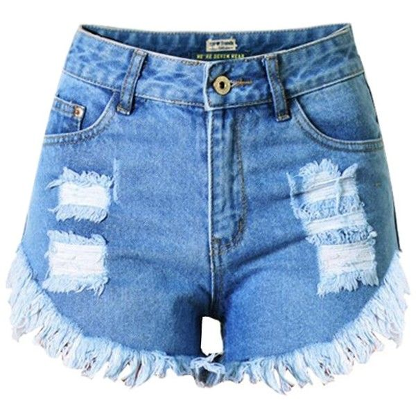 LIYT TOPSHOP Women's Ripped Hole Tassel High-Waisted Jean Shorts ($20) ❤ liked on Polyvore featuring shorts, high-waisted jean shorts, high-rise shorts, destroyed denim shorts, distressed high waisted shorts and distressed shorts
