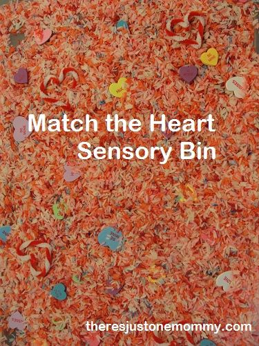 Looking for a fun and simple Valentine's activity to share with the kids? Grab some colorful hearts and put them on a scavenger hunt in a heart sensory bin!