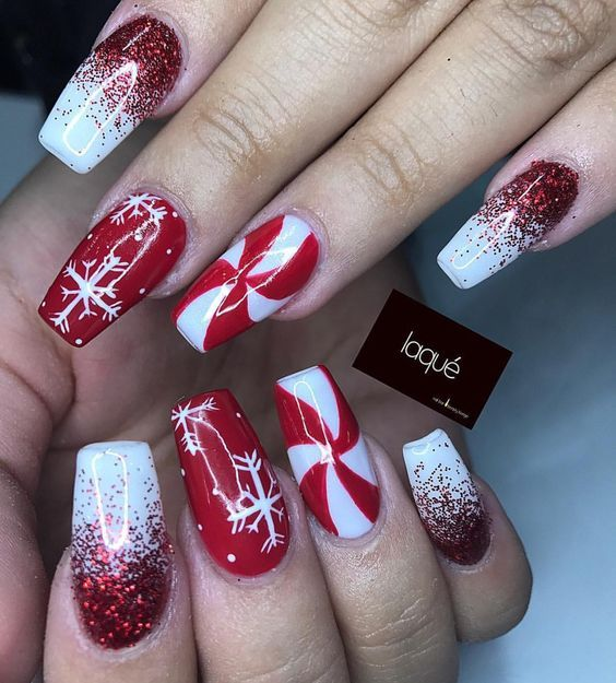 30 Festive and easy Christmas nail art designs you must try   – Christmas nails