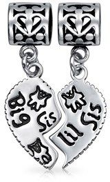 Bling Jewelry Sterling Silver Big Sis Little Sis Heart Dangle Bead Charm.