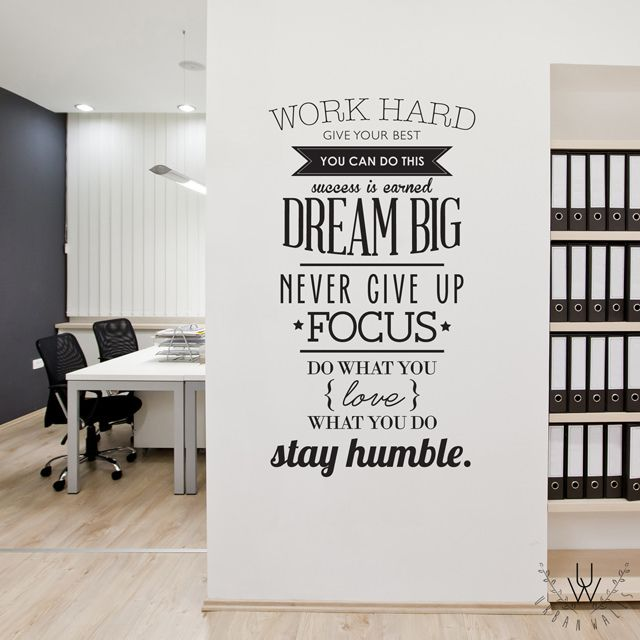 "Inspirational wall sticker including a variety of different font weights and types placed on a white wall. The wall quote includes various sayings such as ""Dream Big"", ""Never Give Up"", ""Focus"", etc."