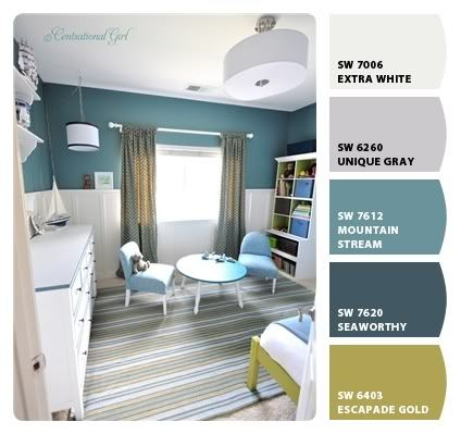 Color ideas. Love those blues. Sherwin Williams paint.