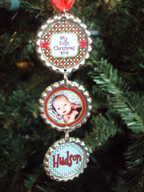 Baby's First Christmas Ornament 2012 - Bottlecap Christmas Ornament - Personalized - Photo Ornament