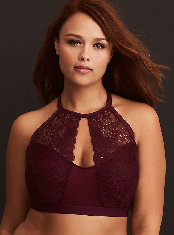 7274bb6701901 Plus Size Lace   Microfiber High Neck Keyhole Bralette