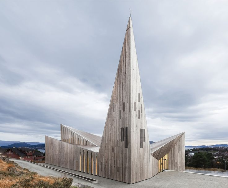 angular formed church of knarvik by reiulf ramstad opens in norway