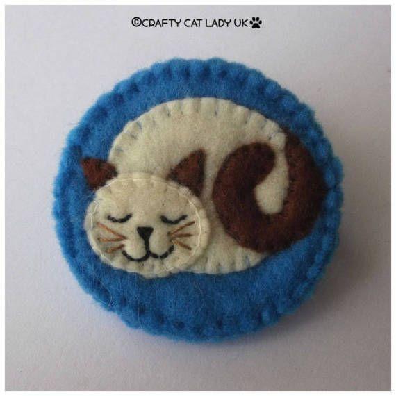 Cat brooch pin sleeping cat cat jewelry cat by CraftyCatLadyUK