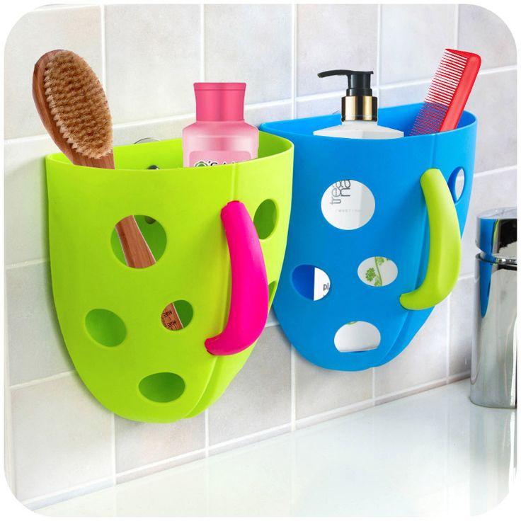 Творческий ванная комната подвесные корзины с ручкой для хранения пластиковых присоски мыть слива и хранения корзины K3355