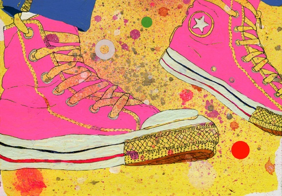Pink Converse - Sarah Beetson - illustration - paint splatter - bright - colourful