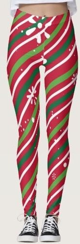 These Christmas leggings are red with green and white diagonal stripes and spray painted flowers and they are just stunning.