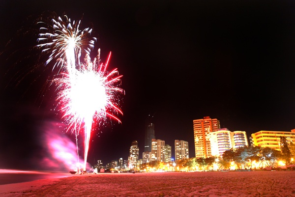 Fireworks on the iconic Surfers Paradise Beach