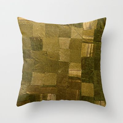 Worn Upholstery Patchwork Throw Pillow by Peta Sun Fire - $20.00