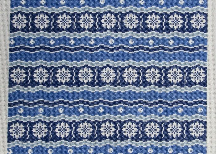 'Kyoto' vintage textile pattern for cross stitch or needlepoint