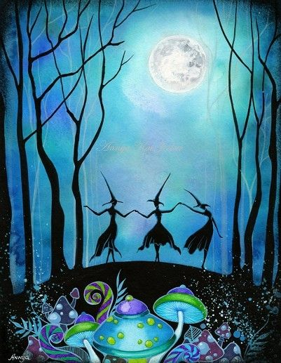 Witches Dancing Under the Moon Haunted Mushroom by AnnyaKaiArt