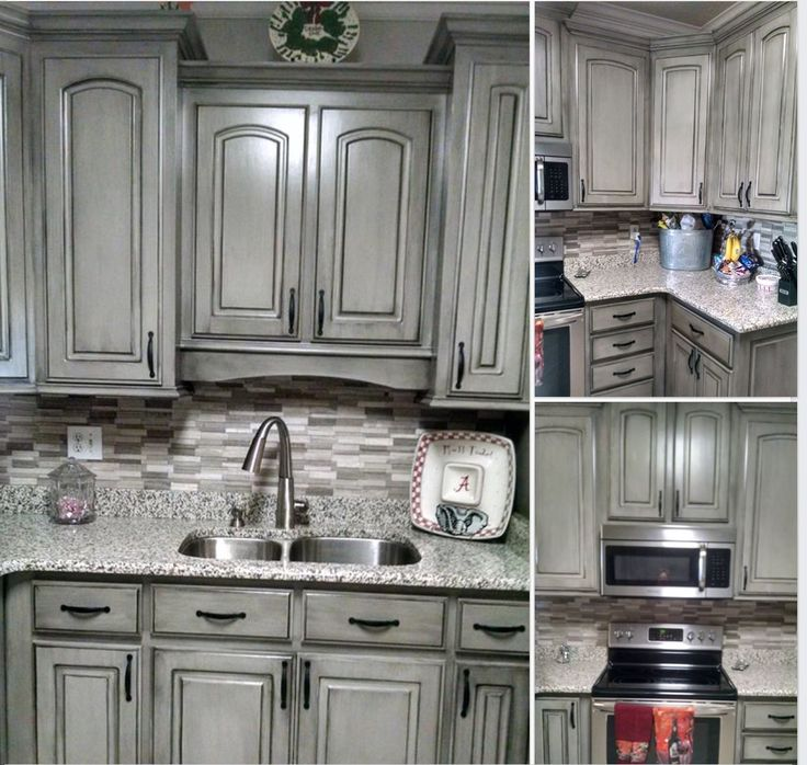 Gray Painted Kitchen Cupboards: Grey With Black Wax