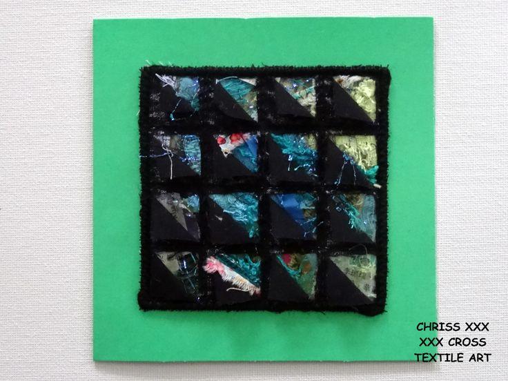 Kunstkaart / Mail Art van Kunst per post Afmeting kaart: 13x13cm (bxh) Afmeting kunstwerk: 8x8cm (bxh) Kleur: groen