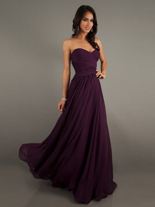 Eggplant Colored Chiffon Sweetheart Floor-Length Bridesmaids Dress