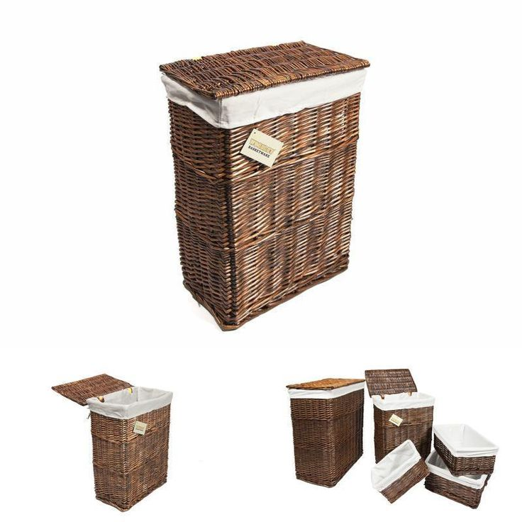 WoodLuv Medium Rectangular Laundry Linen Willow Wicker Basket with Lining, Brown