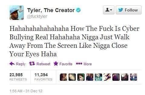 Had to save this with the twitter deleting tweets scare today tyler the creator cyber bullying