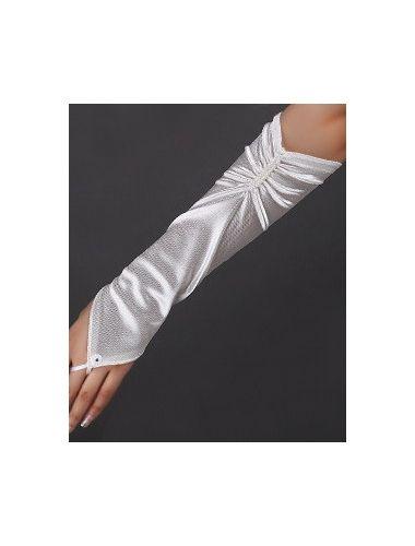 Beige Fingerless Pleated Elbow Length Satin Gloves| Accesories | StringsAndMe