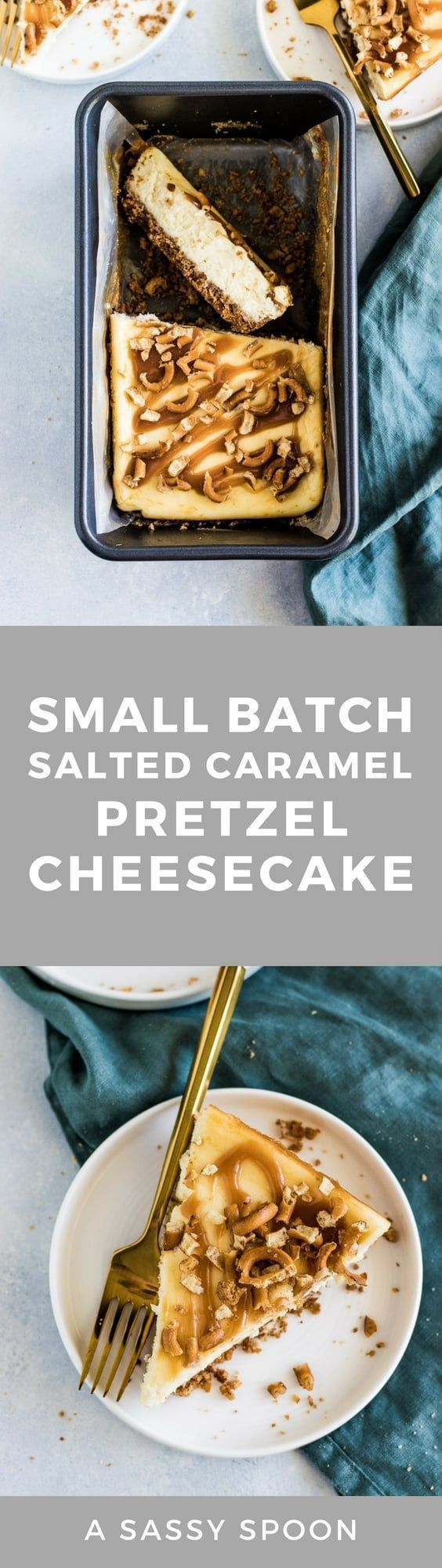 Deliciously creamy, small batch salted caramel pretzel cheesecake made with graham crackers, pretzels, and salted caramel. via @asassyspoon