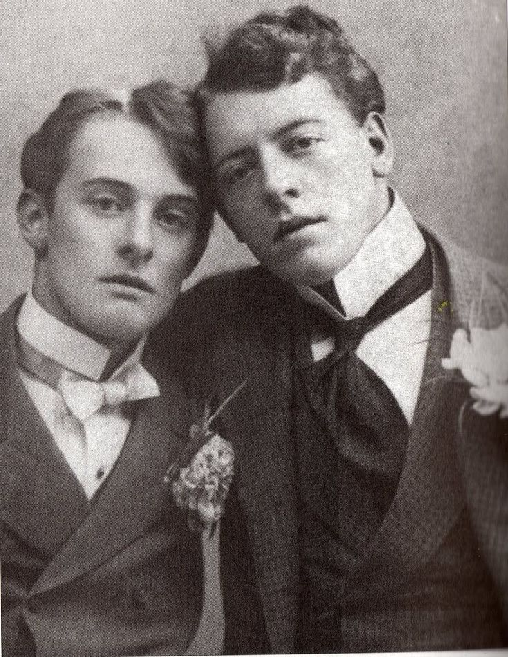 "Lord Alfred ""Bosie"" Douglas and Francis Douglas...""Drunk on brandywine, a thimbleful...""     The fellow on the right whipped their dad's ass during Oscar Wilde's trial.  Their other brother had it off with the Prime Minister."