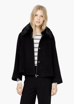 Manteau laine empiècement fourrure - Manteau pour Femme | OUTLET France