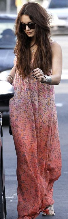 Who made  Vanessa Hudgens pink print maxi dress?