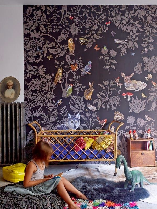 Boho kids room with lovely floral wallpaper.