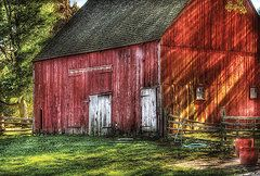 Rustic Country Art - Farm - Barn - The old red barn by Mike Savad