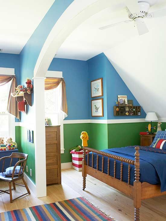 Kid's Bedrooms: Boy's Bedrooms - love the blue + green